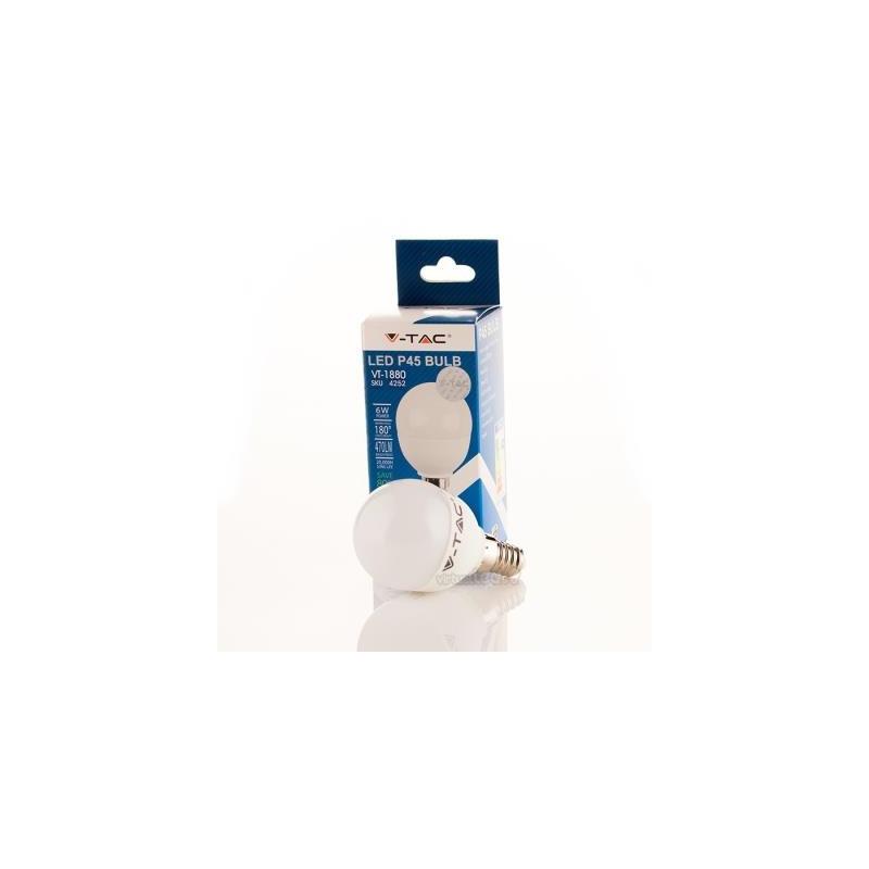 Lâmpada LED V-TAC 6W E14 P45 Golfball branca luz fria 470 Lm-ref.L4252